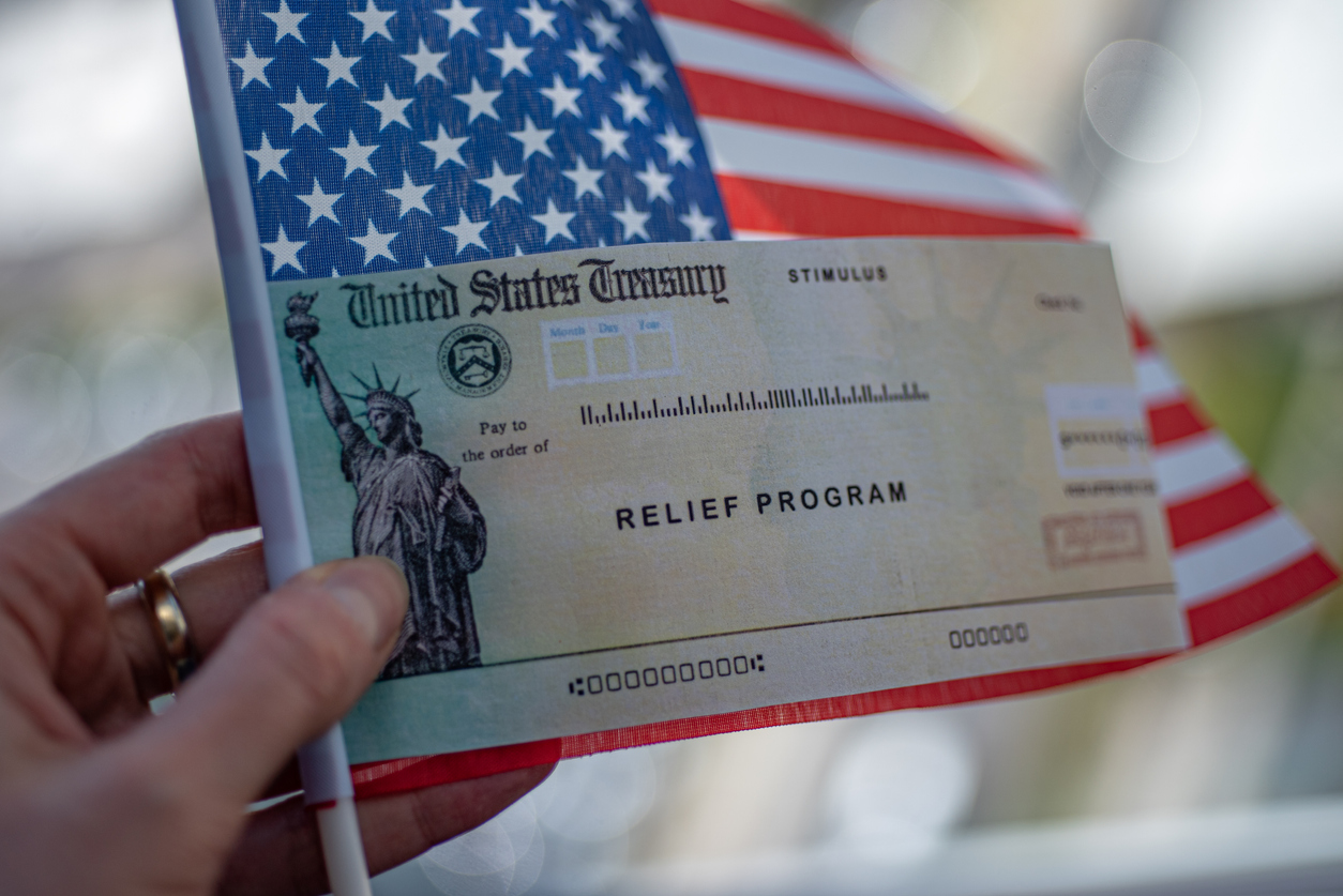 US Flag and Treasury check